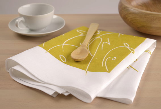 Alphabet tea towel-Cromer Yellow